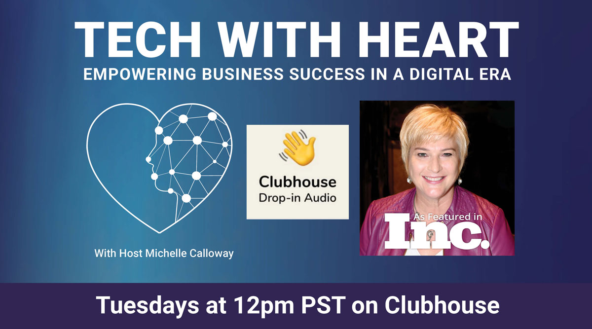 Tech With Heart Hosts rooms on Clubhouse every Tuesday at 12pm Pacific